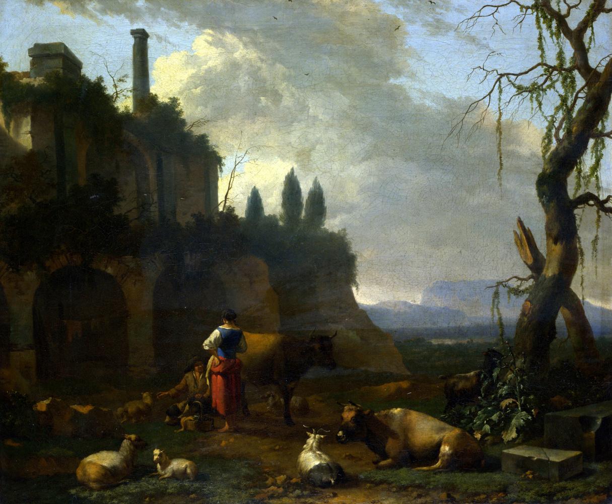 Абрахам Бегейн. Крестьяне среди крупного рогатого скота по Руина