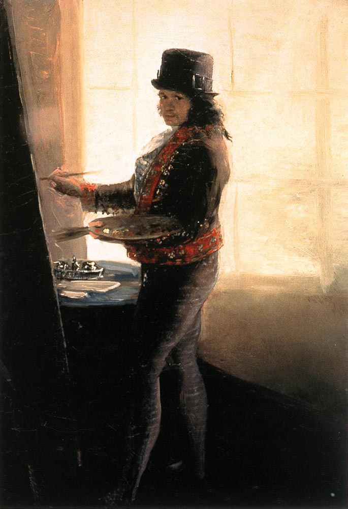 Francisco Goya. Self-portrait at work