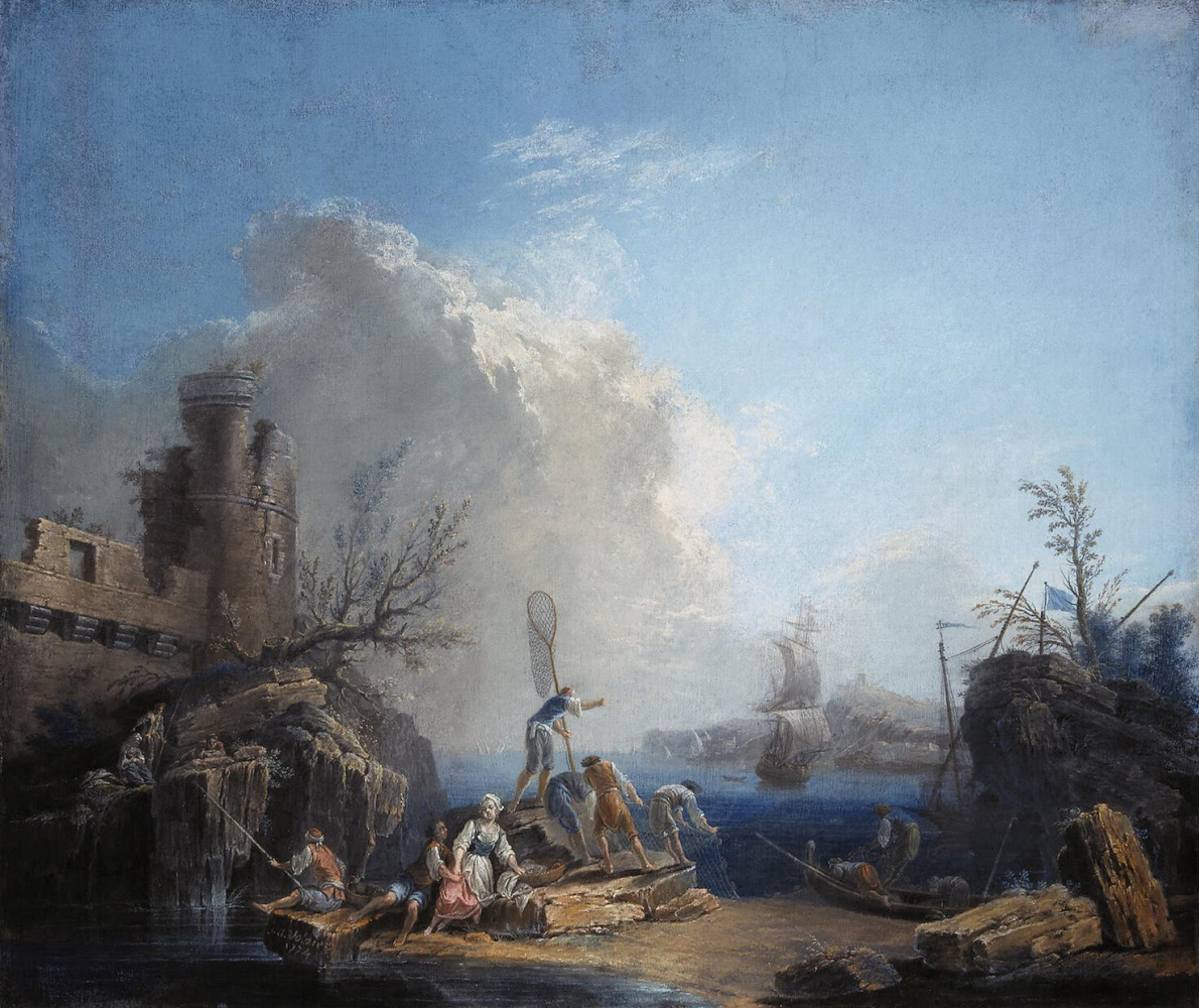 Пьер-Жак Волер. Морской пейзаж с рыбаками на скалистом берегу