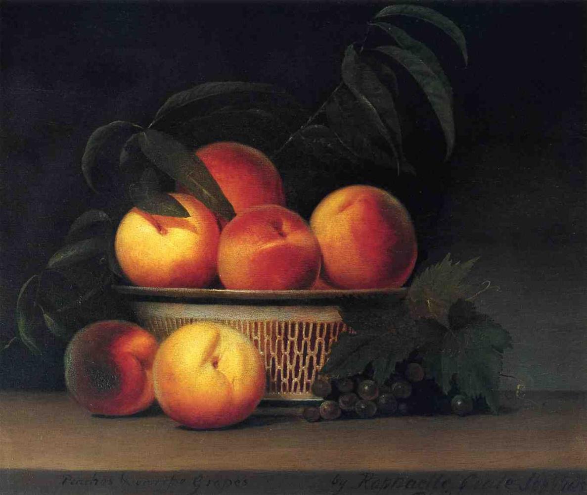 Raphaelle Peale. Peaches and unripe grapes