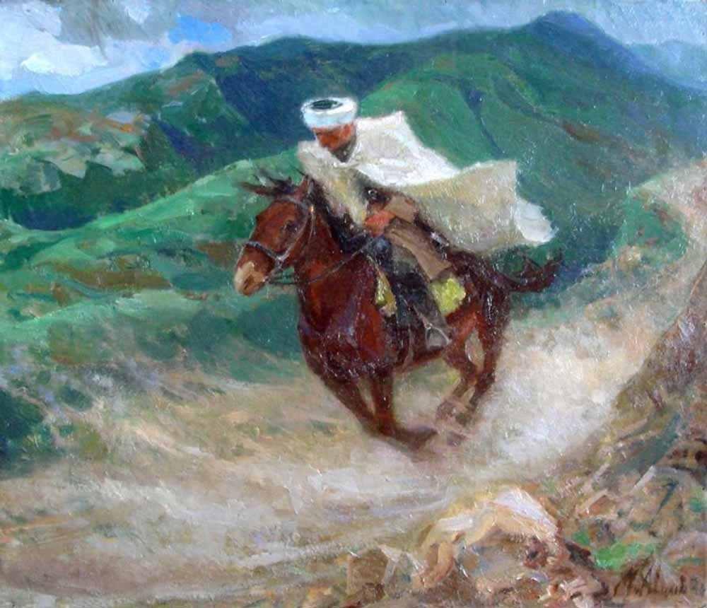 Mikhail Ivanovich Avilov. Rider. 1940 oil on Canvas