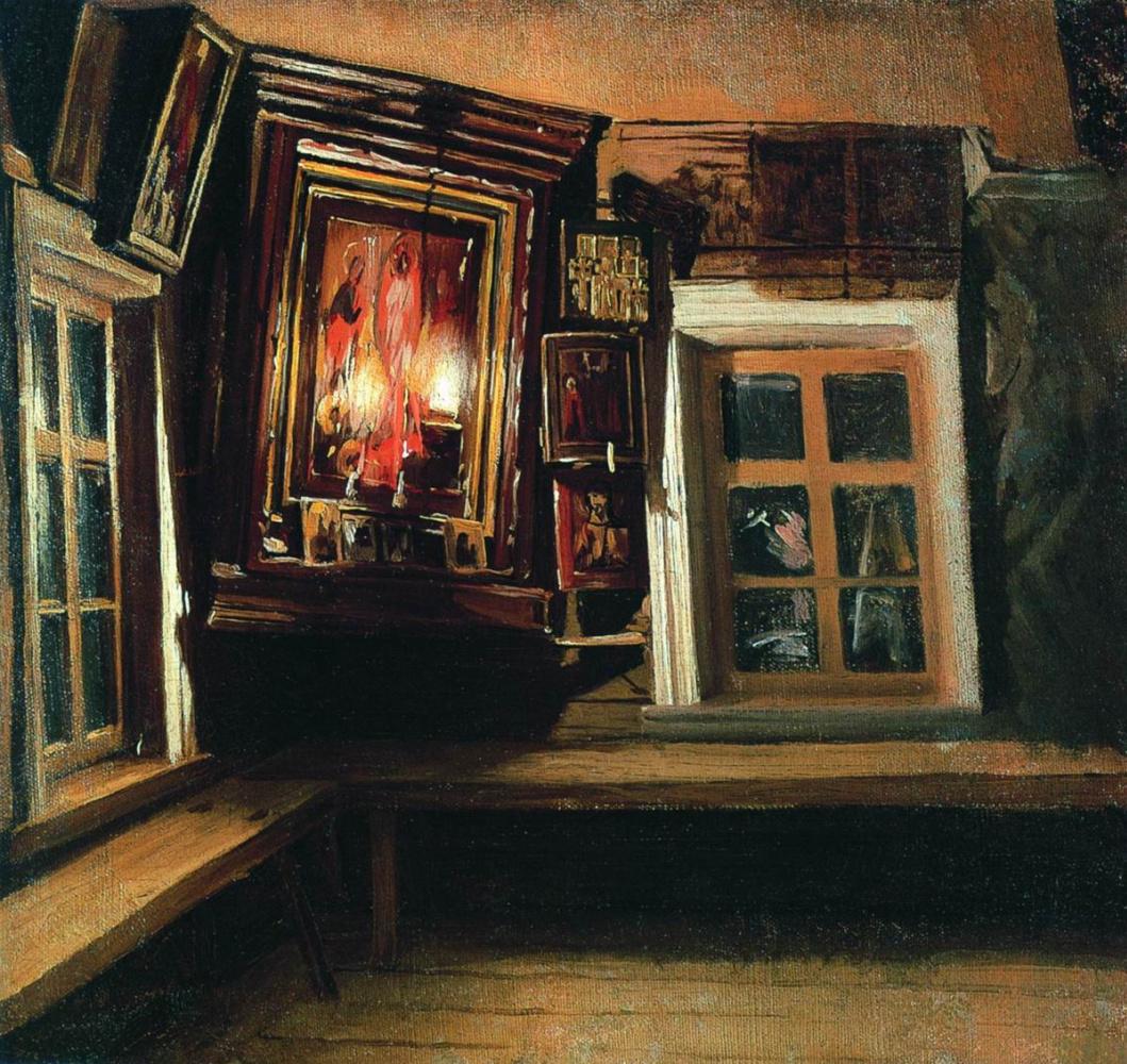 Василий Максимович Максимов. Красный угол в избе. 1869