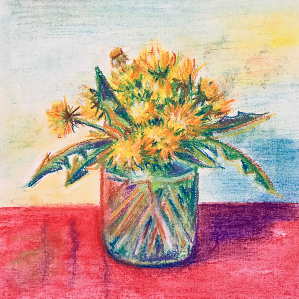 Oksana Gracheva. Dandelions in a jar