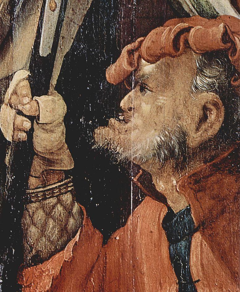 Маттиас Грюневальд. Христос, упавший под тяжестью креста, деталь