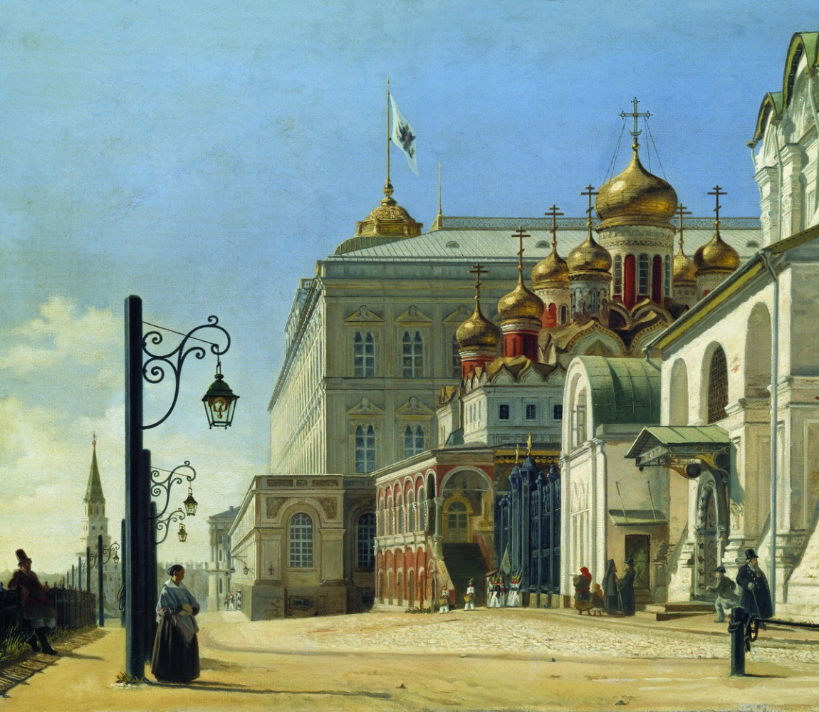 Карл-Фридрих Петрович Бодри Россия 1812 - 1894. View in the Kremlin (Archangel and Blagoveshchensk cathedrals) 1850