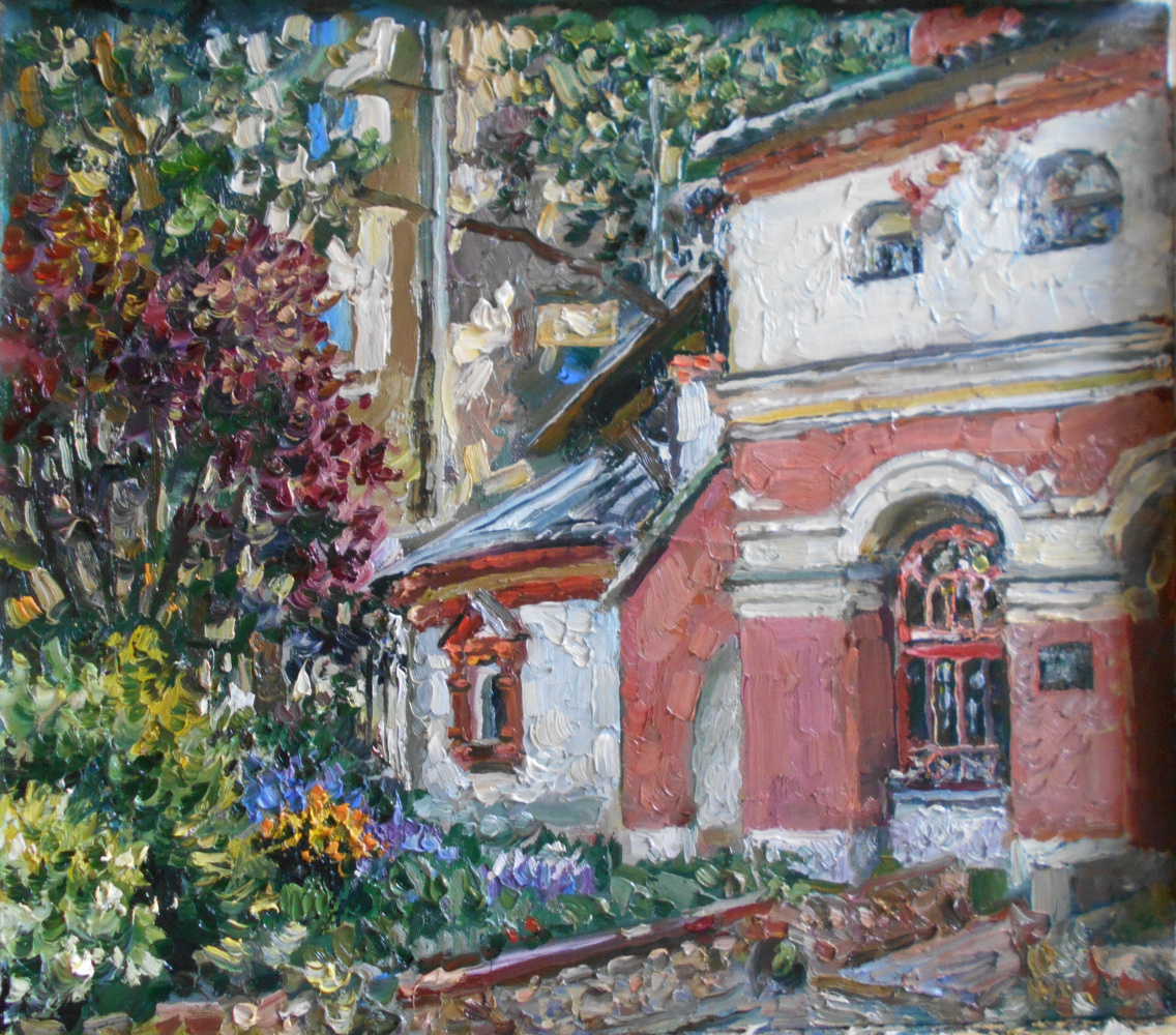 Artist Painter and Graphic Anna Yaguzhinskaya. At the temple of the Three Saints on Kulishki