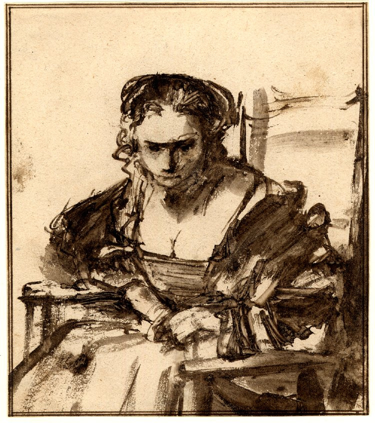 Rembrandt Harmenszoon van Rijn. A young woman seated in an armchair