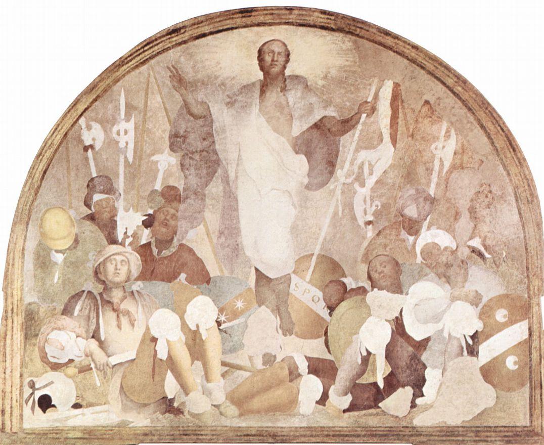 Якопо Понтормо. Цикл фресок Страсти Христовы в Чертоза дель Галуззо, сцена: Воскресение Христово, фрагмент
