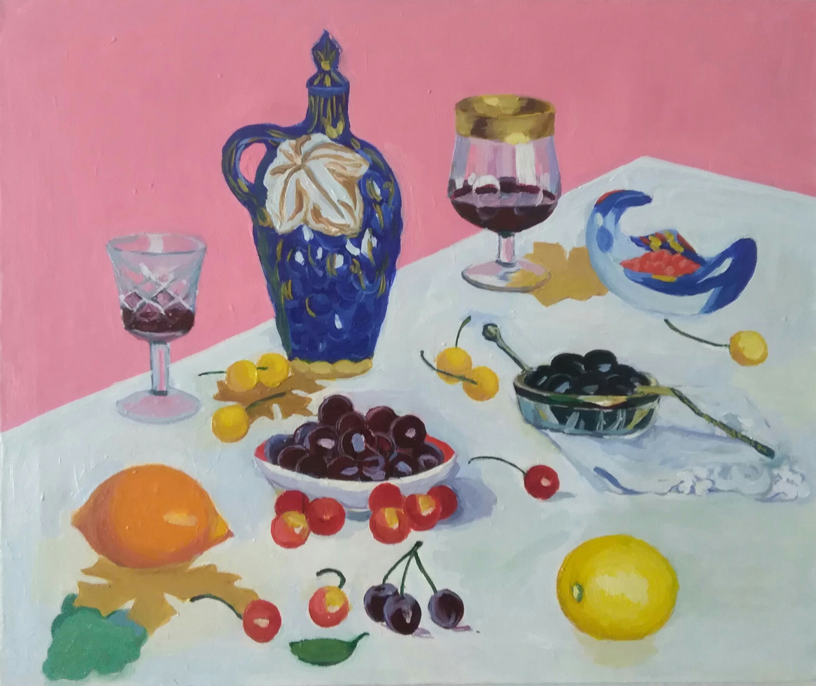 Elena Anatolyevna Seyfi. Still life with cherries