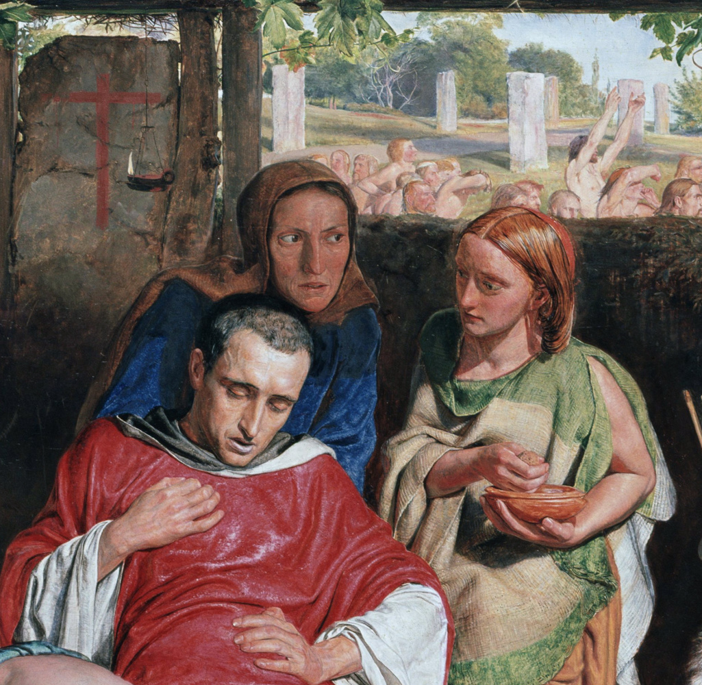 William Holman Hunt. Converted British family sheltering a Christian missionary from the persecution of the druids. Fragment II