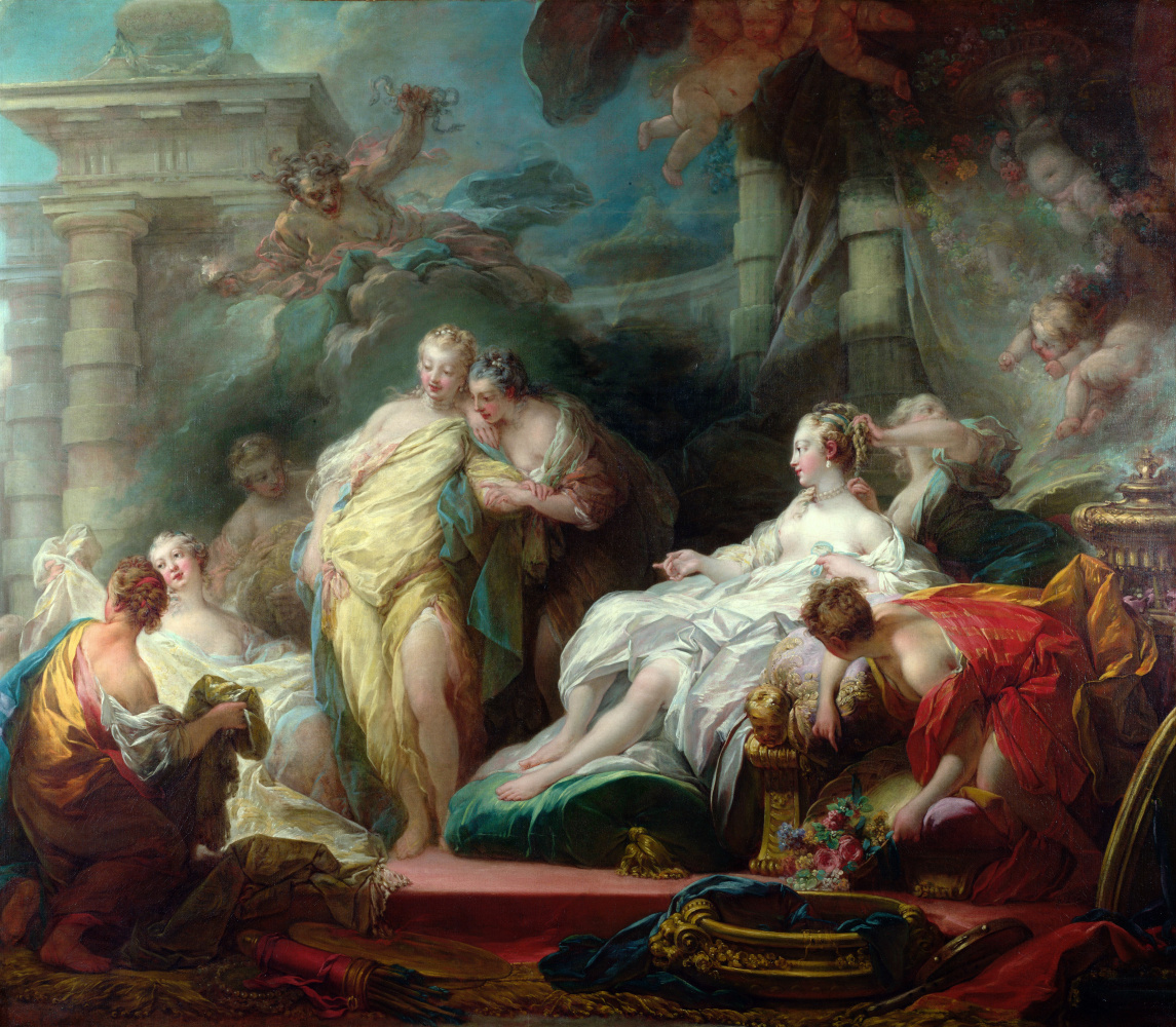 Jean-Honore Fragonard. Psyche shows her sisters the presents Cupid