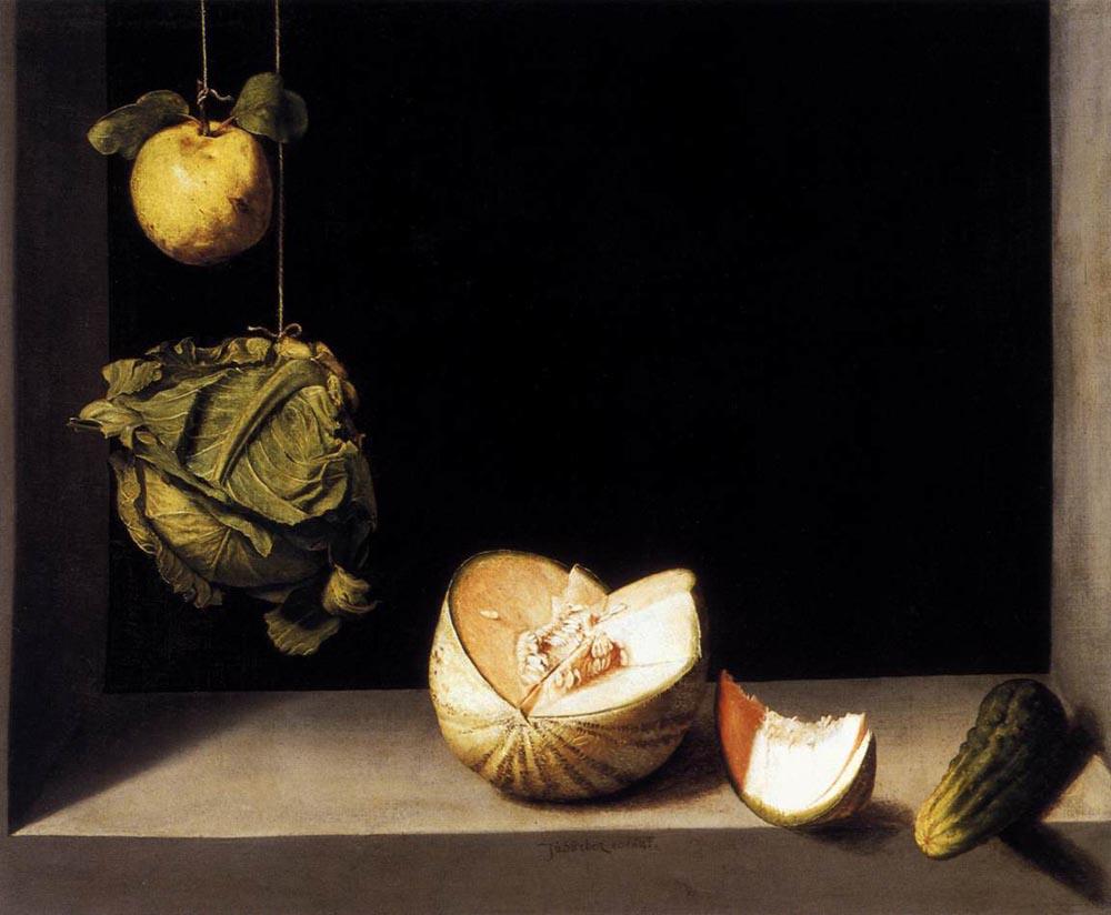Хуан Санчес Котан. Натюрморт с айвой, дыней, капустой и огурцом