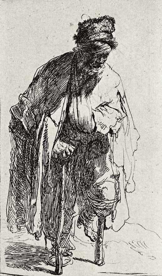 Рембрандт Харменс ван Рейн. Нищий на деревяшке