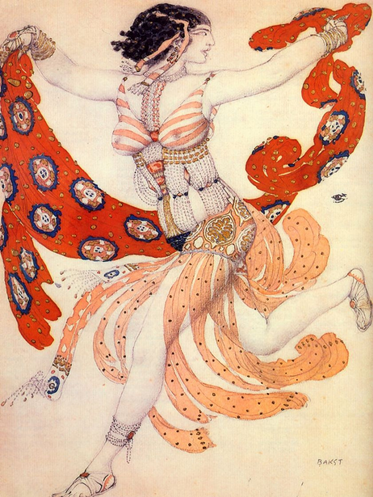 "Lev (Leon) Bakst. Costume of Cleopatra for IDA Rubinstein for the ballet ""Cleopatra"" to music by A. S. Arensky"