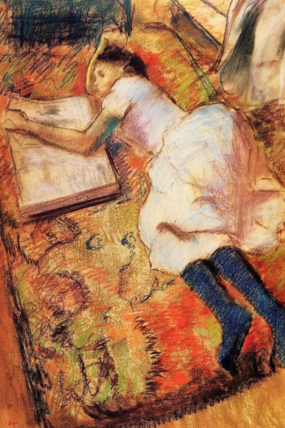 Edgar Degas. Young girl reading on the floor