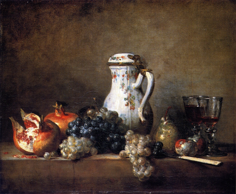 Jean Baptiste Simeon Chardin. Still life with porcelain jug, pomegranate and grapes