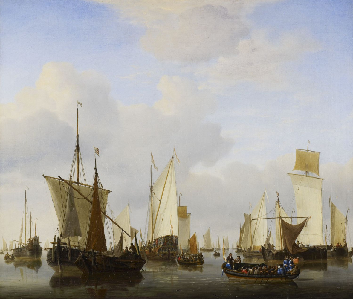 Willem van de Welde the Younger. A Calm : A States Yacht, A Barge and many other Vessels under Sail