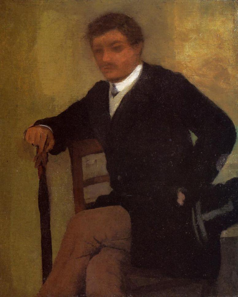 Эдгар Дега. Сидящий молодой человек в жакете и с зонтиком