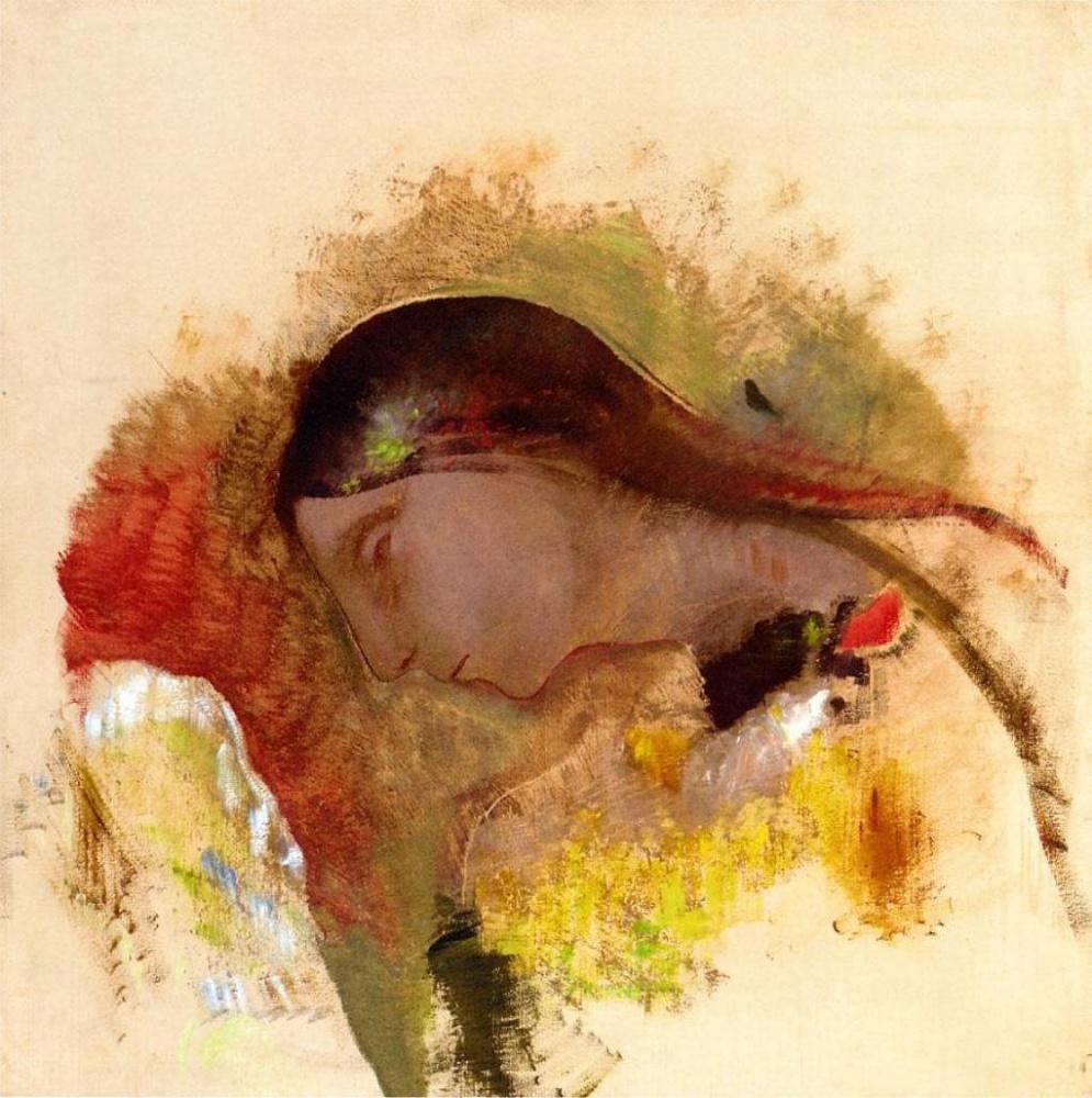 Одилон Редон. Голова спящей женщины