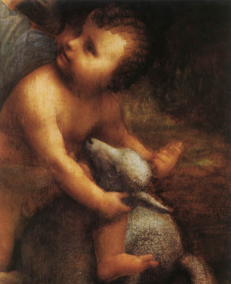 Leonardo da Vinci. Madonna and child with St Anne (detail)