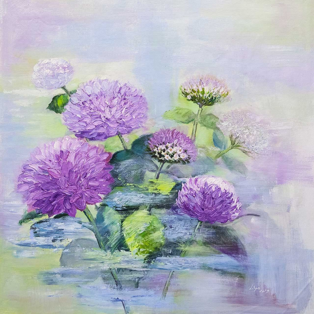 (no name). Asters in the garden