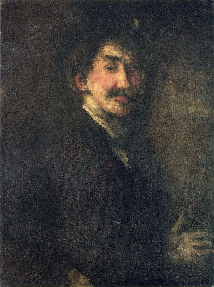 James Abbot McNeill Whistler. Brown and gold (self Portrait)