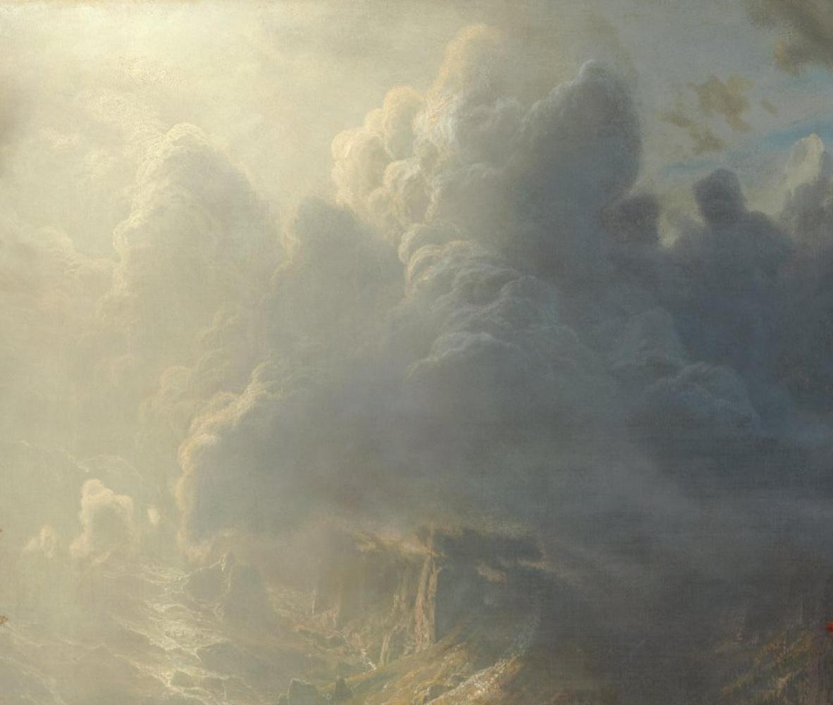 Альберт Бирштадт. Утро в Сьерра-Невада. Фрагмент. Облачное небо