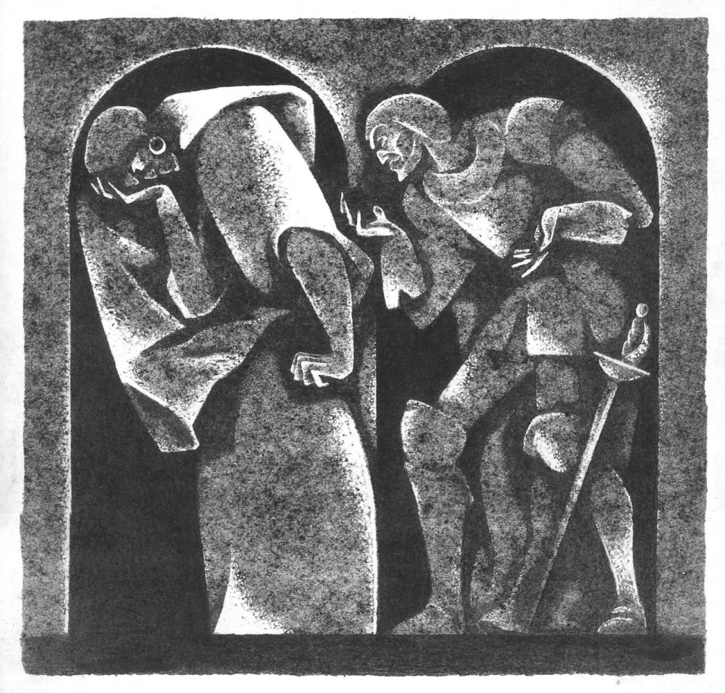 """Vitaliy Mikhailovich Volovich. """"Othello and Iago"""". From a series of illustrations for W. Shakespeare's tragedy """"Othello. Venetian Moor """""""