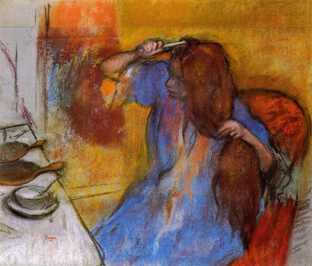 woman her hair combing Degas