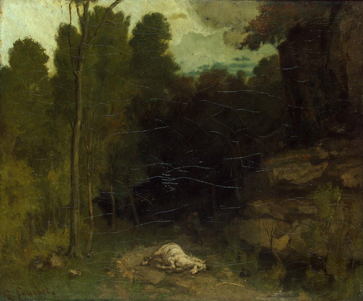 Гюстав Курбе. Пейзаж с мертвой лошадью