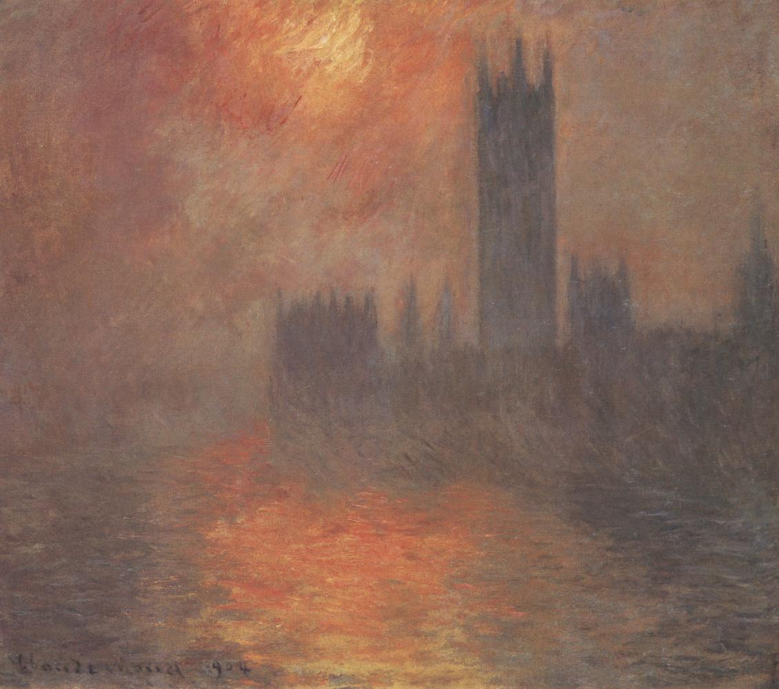 Claude Monet. Westminster Palace, sunset