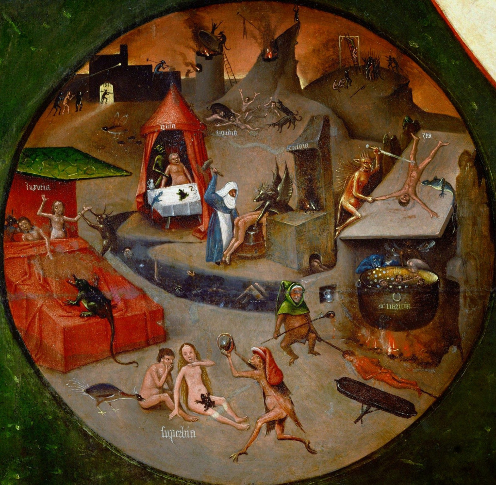 Hieronymus Bosch. Hell. The seven deadly sins and the Four last things. Fragment