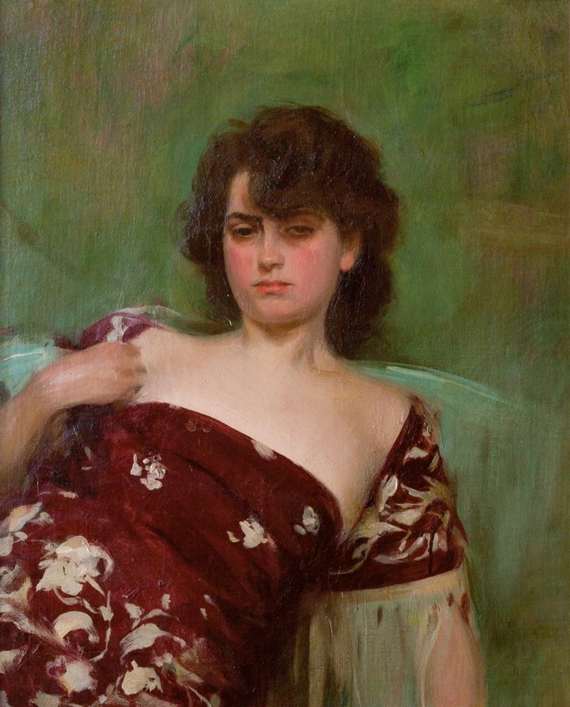 Ramon Casas i Carbó. Julia in a pomegranate dress
