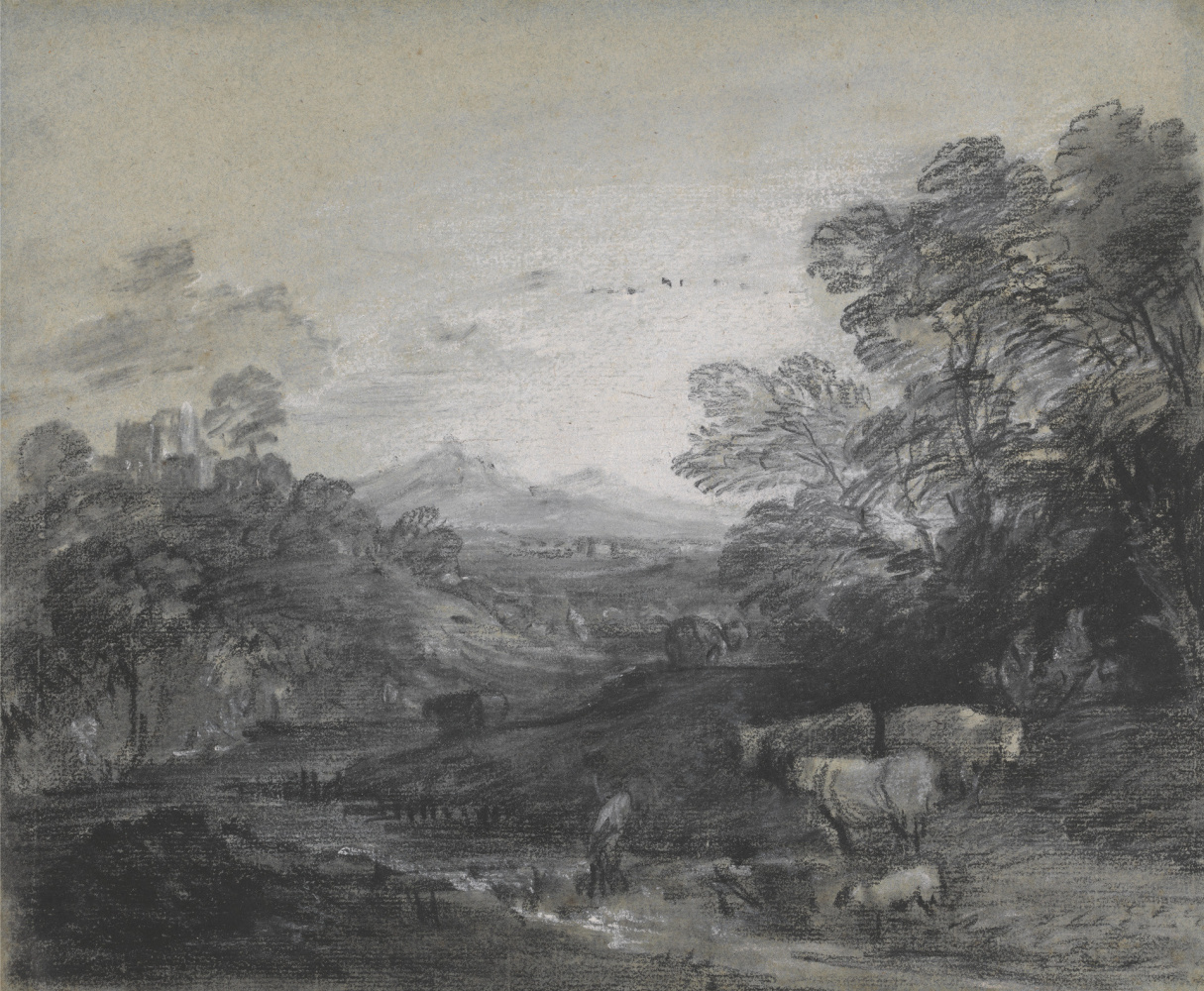 Thomas Gainsborough. Forest landscape with shepherds and flock