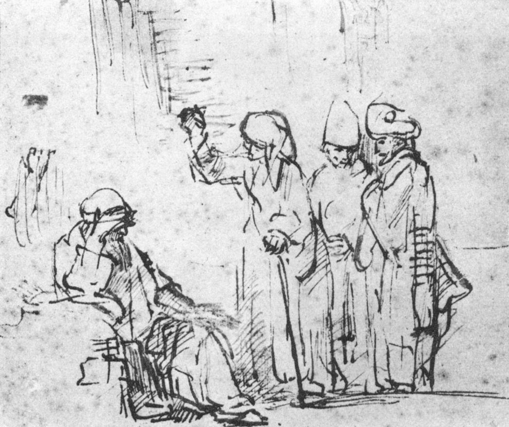 Рембрандт Харменс ван Рейн. Иов с женой и друзьями