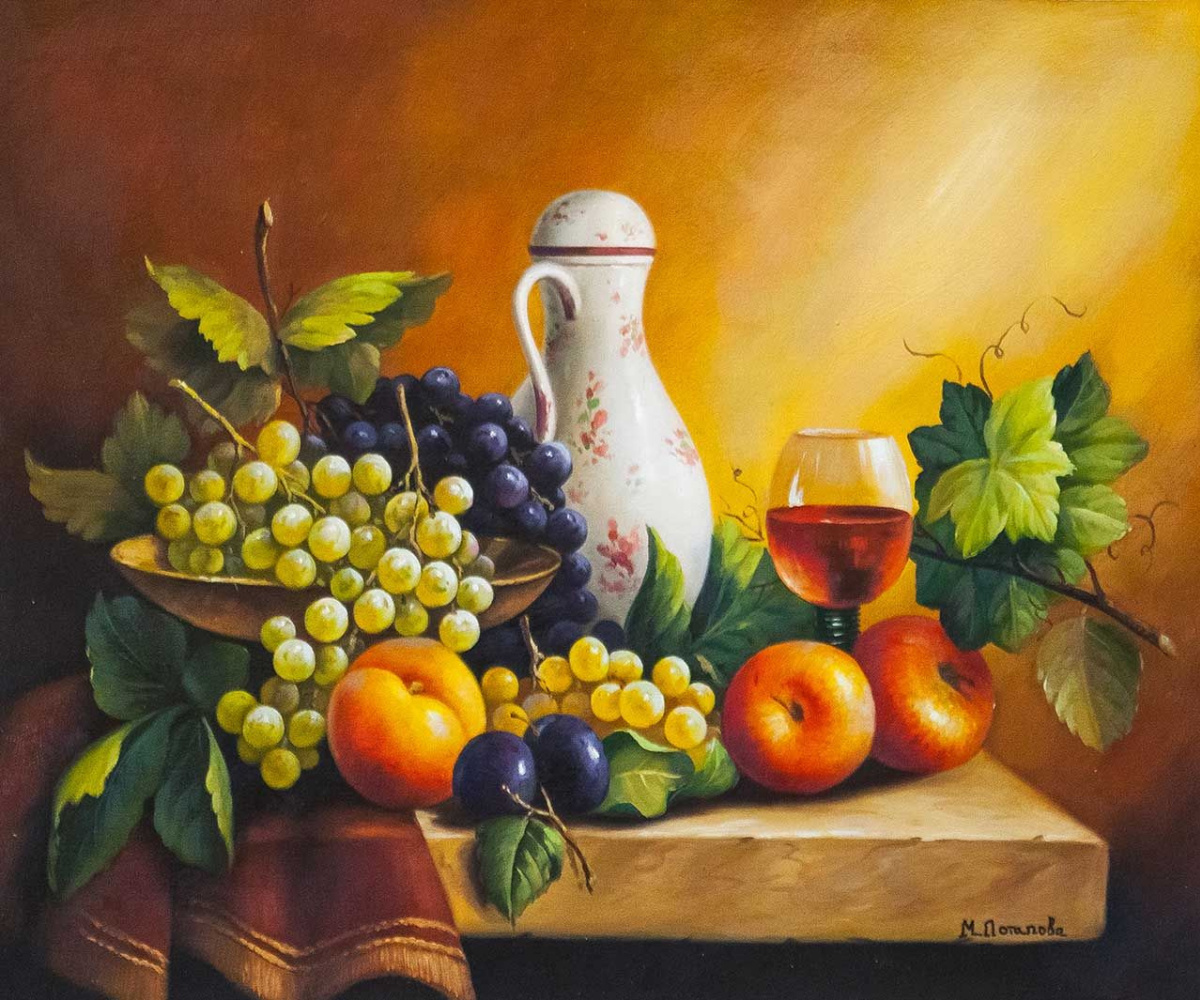 Maria Potapova. Still life with grapes, apples and plums