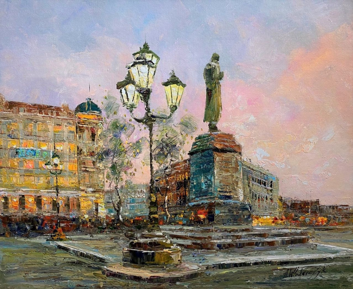 Andrzej Vlodarczyk. Walks in Moscow. View of the monument to A.S. Pushkin