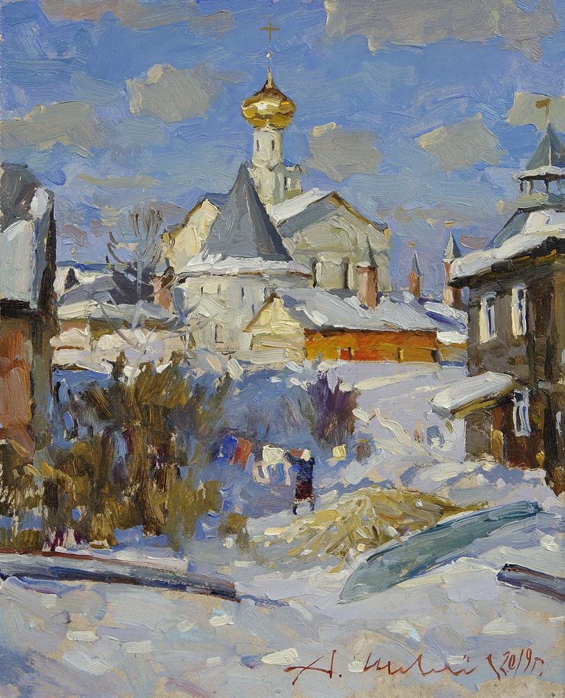 Alexander Shevelyov. March in Rostov the Great. D.V.P., oil 24.5 x 30 cm.2019