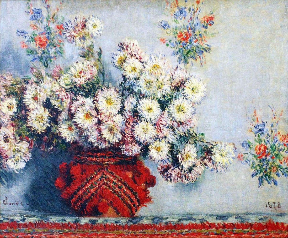Claude Monet. Vase with chrysanthemums