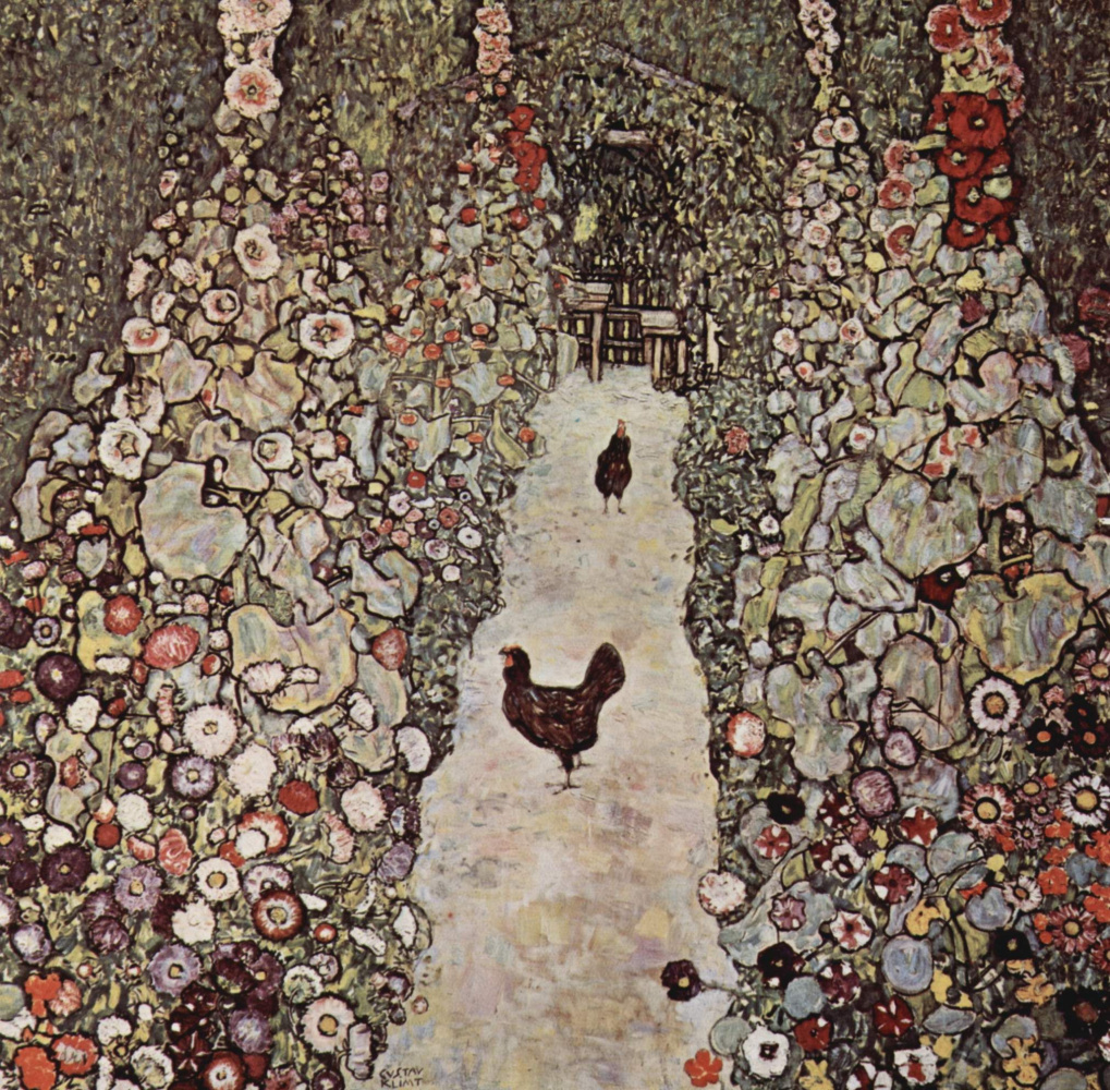 Gustav Klimt. Path in a garden with chickens