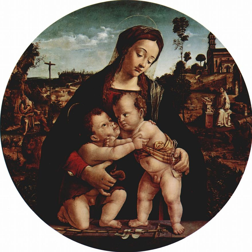 Пьеро ди Козимо. Мадонна со св. Иоанном Крестителем, тондо