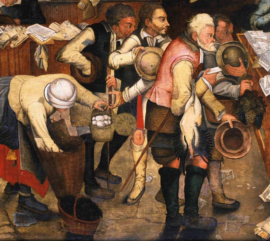 Peter Brueghel the Younger. Rural lawyer (the Peasants from the tax collector). Fragment. The peasants