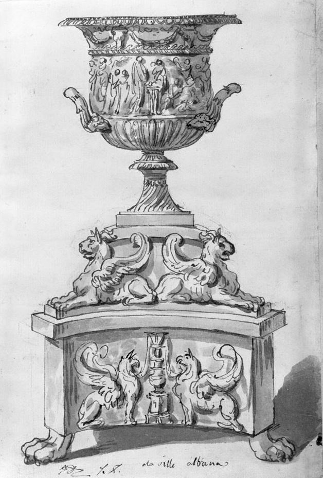 Jacques-Louis David. A large urn on a pedestal decorated with