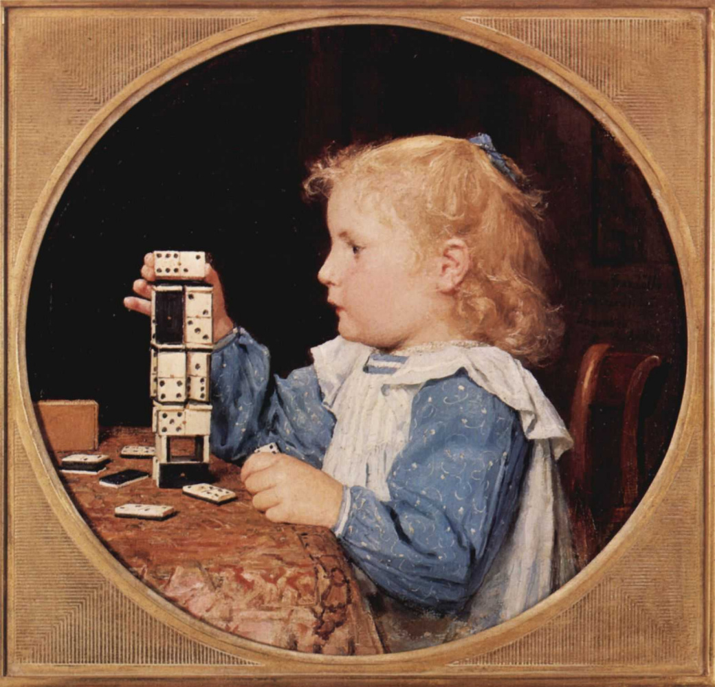 Albert Anchor. The girl with the dominoes, Tondo