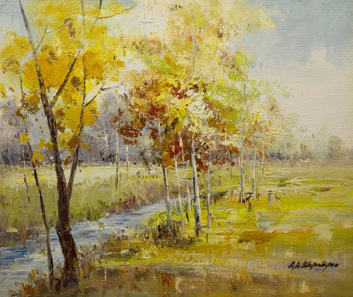 Andrey Sharabarin. Birches with yellow carving shine in azure blue ... N3