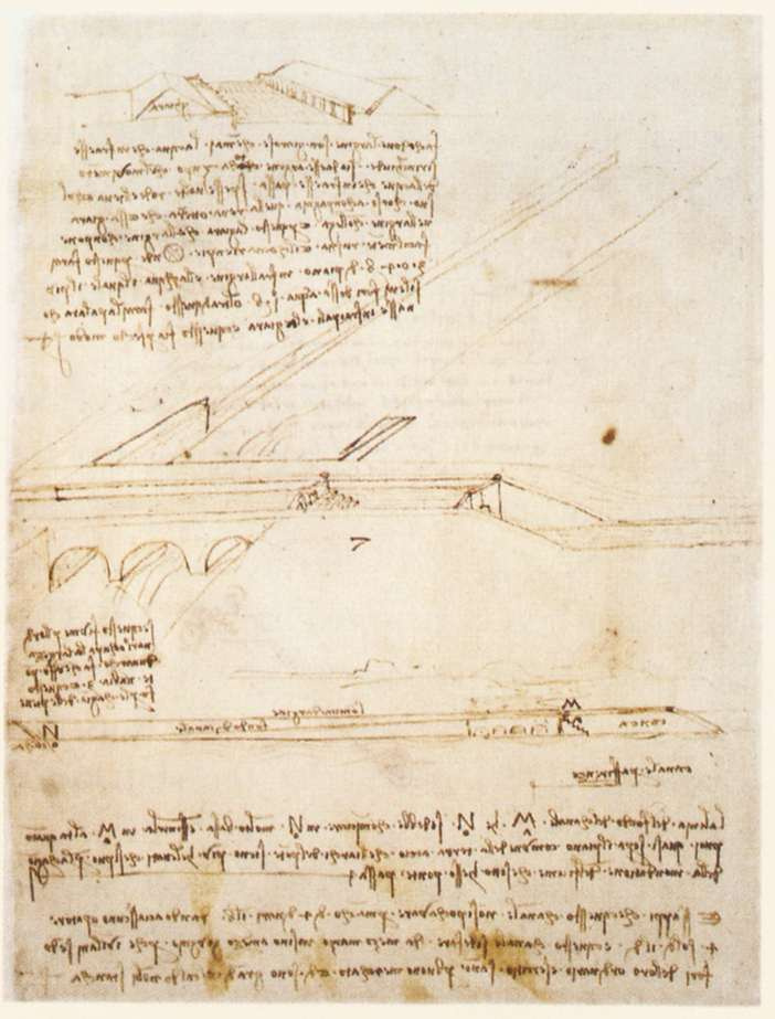 Leonardo da Vinci. The bridge over the canal