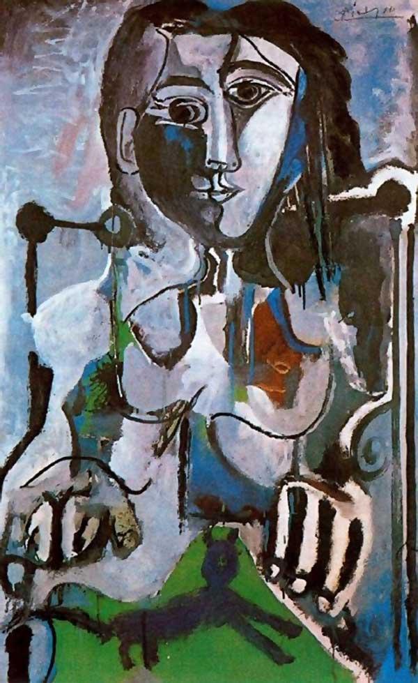 Пабло Пикассо. Женщина с котом, сидящая в кресле