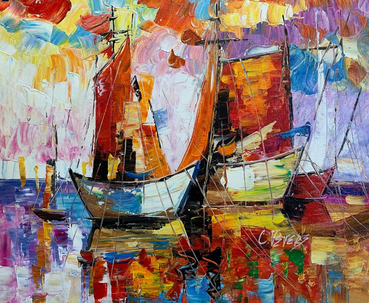 """(no name). Boats N2. Series """"Marine multicolored"""""""