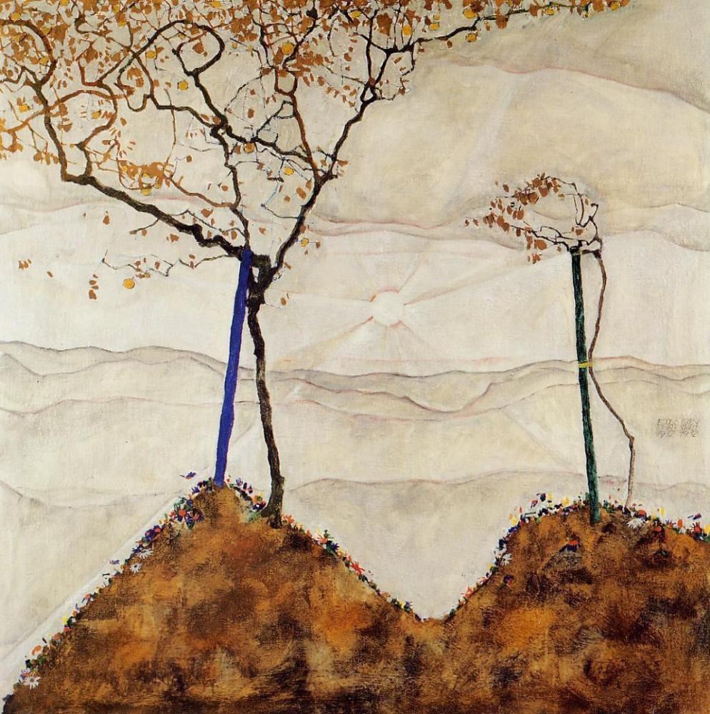 Egon Schiele. Autumn sun and trees