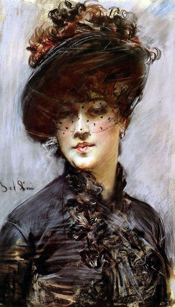 Джованни Больдини. Женщина в черной шляпе с вуалью